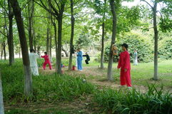 Chinese practice martial arts in the park. Stock Photography