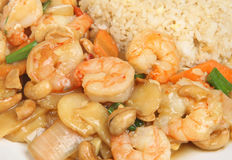 Chinese Prawns with Cashew Nuts Royalty Free Stock Photography