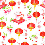 Chinese print with lanterns, fuchsia and lucky cats. Watercolor Stock Photos