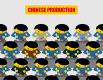 Chinese production. Lot of people at work. Chinese collected wor Royalty Free Stock Images