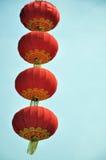 Chinese prosperity lanterns. Isolated on blue sky background stock images