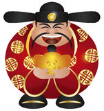 Chinese Prosperity Money God with Gold Bar Royalty Free Stock Photos