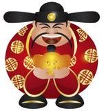 Chinese Prosperity Money God with Gold Bar. Happy Chinese Lunar New Year Prosperity Money God Holding Gold Bar Illustration Isolated on White Background vector illustration