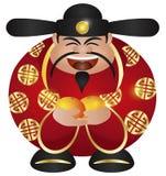 Chinese Prosperity Money God with Oranges. Happy Chinese Lunar New Year Prosperity Money God with Mandarin Oranges Illustration Isolated on White Background royalty free illustration