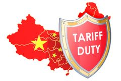 Chinese protective tariffs concept. Map of China with shield, 3D Royalty Free Stock Image