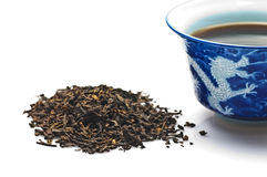 Chinese Pu-Erh tea. With a blue Chinese tea cup Royalty Free Stock Photo