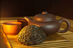 Chinese puer tea and tea set Royalty Free Stock Images