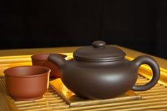 Chinese puer tea and tea set Stock Photo