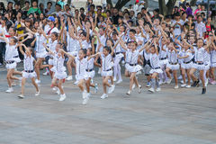 Chinese pupils perform dances Stock Image