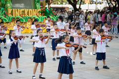 Chinese pupils play the violin Stock Photography