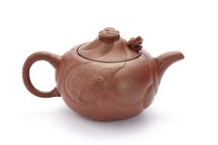 Chinese purple sand teapot isolated on white Stock Image