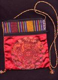 Chinese purse. Red silk traditional Chinese purse Royalty Free Stock Photography