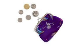 Chinese Purse and Coins Stock Photography