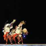 Chinese Qiang ethnic dancers Stock Images