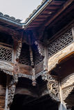Chinese Qing Dynasty Wood Carving Architecture Royalty-vrije Stock Foto's