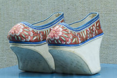 Chinese Qing high end embroidered shoes Royalty Free Stock Photography