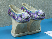 Chinese Qing high end embroidered shoes Royalty Free Stock Photos