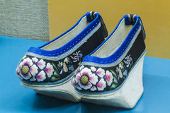 Chinese Qing high end embroidered shoes Stock Photos