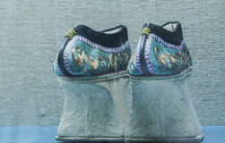 Chinese Qing high end embroidered shoes Royalty Free Stock Photo