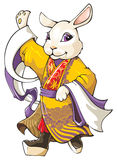 Chinese rabbit. White rabbit, the symbol of coming 2011 year according Chinese lunar calendar, wearing traditional Beijing opera costume, vector illustration royalty free illustration