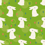 Chinese rabbit with circles pattern for chinese mid autumn festival. Children room decoration seamless pattern. Vector illustration for textile, print Royalty Free Stock Image