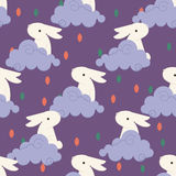 Chinese rabbit in clouds pattern for chinese mid autumn festival Royalty Free Stock Images