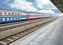Chinese railway. Station with a dual-layer train stoped.Photo is taken on 29 April 2011 Royalty Free Stock Photography