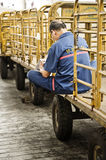 Chinese railway cargo worker Stock Photos