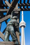 The Chinese Railway Workers Memorial with the CN Tower in the background Stock Photography
