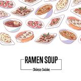 Chinese ramen soup poster with asian dishes vector illustration