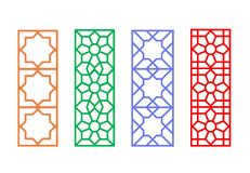 Chinese rectangle window frame with islamic linear. Pattern, vector Royalty Free Stock Photos