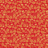 Chinese red background with golden flowers. Stock Images