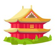 Chinese Red Building with Yellow Roof Isolated Royalty Free Stock Photos