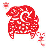 Chinese Red CNY sheep illustration. The Chinese word means Year of Sheep Royalty Free Stock Photos