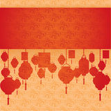 Chinese red and cream cloud pattern and lanterns horizontal banner Stock Image