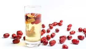Chinese red dates fruit tea in a glass Stock Images