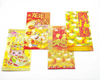 Chinese Red dragon Envelope. Chinese New Year Money Packets Translation: Best Luck Ahead the Year of Dragon Stock Image