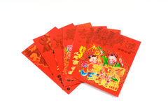Chinese Red Envelop. Chinese New Year Red Packets on White Background Stock Photos