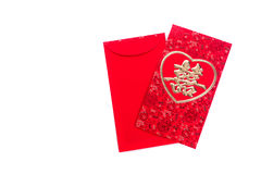 Chinese Red Envelope use in Chinese new year festival on white. Chinese Red Envelope use in Chinese new year festival on white background. Translation in Royalty Free Stock Photo