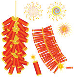 Chinese red fireworks .Vector isolated on white Royalty Free Stock Images
