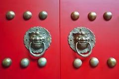 Chinese red gate doors stock photo