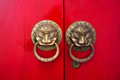 Chinese red gate doors in Yuantong, Kunming Stock Photography