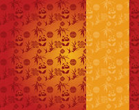 Chinese red and gold panda and bamboo pattern vertical banner Stock Photos