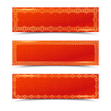 Chinese red horizontal banners with gold borders. Vector templates Stock Photos