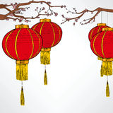 Chinese Red Lanter New Year. Traditional Chinese red lantern decoration elements for lunar new year celebration hanging from cherry tree royalty free illustration
