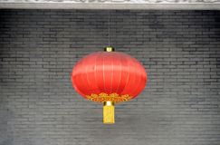 Chinese red lantern. On the wall stock photo