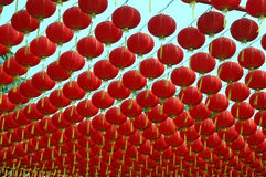 Chinese red lantern. Shanghai - traditional Chinese decoration for New Year - hundreds of red lantern Royalty Free Stock Photos