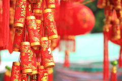 Chinese red lantern and fake firecrackers Royalty Free Stock Photos