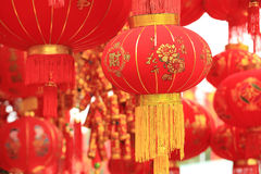 Chinese red lantern and fake firecrackers Royalty Free Stock Photography