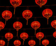 Chinese red lantern illuminated at night Royalty Free Stock Photos